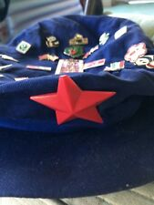 chinese army hat blue with red star with amazing rare pins and badges 1985