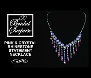 Bridal pink rhinestone necklace set C-Vid FREE GIFT W/ PURCHASE One Of A Kind