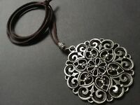Large Statement Antique Silver Celtic Flower pendant on long Suede necklace