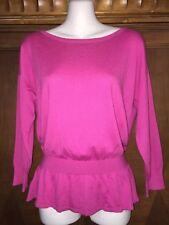 S Small Ann Taylor Pink Peplum Sweater New Lightweight 3/4 Sleeve Cashmere Boat