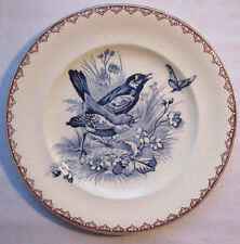 Rare French Majolica Plate, model Summer signed J.S. Clairefontaine: Birds