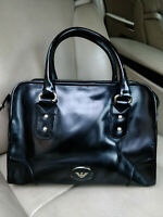 Giorgio Armani Patent Smooth Leather Top Handle Boston Bag Satchel Bowling Black