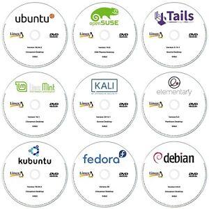 9 x Linux DVD Collection 64-Bit Ubuntu, Linux Mint, Debian, Kubuntu & More!!!
