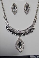B546 BLACK  & RHINESTONE CRYSTAL MARQUIS NECKLACE & MATCHING EARRINGS SET PROM