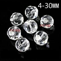 Clear Czech Glass Faceted Round Ball Spacer Beads 4MM 6MM 8MM 10MM 12MM 14MM
