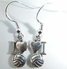 Tibetan Silver 'I LOVE FOOTBALL' On Sterling Silver Hooks Earrings World Cup