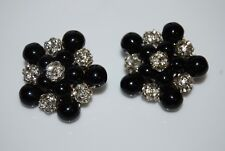 VINTAGE 1980'S BOLD LARGE COUTURE BLACK GLASS AND RHINESTONE BALLS CLIP EARRINGS
