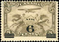 Used Canada 1932 6c on 5c F-VF Scott #C3 Air Mail Stamp