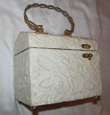 vintage box style ivory carved look floral embossed gothic Lolita hand bag purse