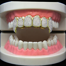 14k Gold Plated Hip Hop Iced Out Two Tone Si CZ Teeth Grillz Caps Fang Top Grill