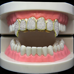14k Gold Plated Hip Hop Two Tone Si CZ Teeth Grillz Caps Fang Top Grill