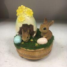 Josef Original Bunny Easter Egg Moving Music Box Ceramic Rabbit Spring Flowers