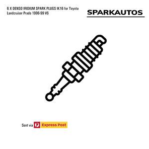 6 X DENSO IRIDIUM SPARK PLUGS IK16 for Toyota Landcruiser Prado 1996-99 V6
