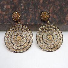 Designer Handcrafted Polki Gemstone Stud Dangling Wedding Beautiful Earrings