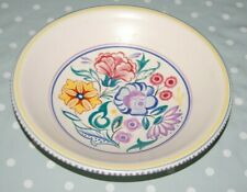 "Poole Pottery Large Floral Hand Painted Footed Bowl, 10"" Diameter."