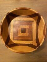 Vintage Handmade Wooden-pedestal Nut or Candy Bowl