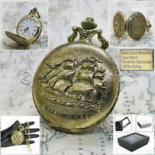 Gold Antique Ship Design Cover Men Big 47 MM Pocket Watch Fob Chain Box P212