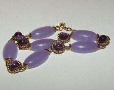 Espléndido, Art Decó, chino, CT 9 Pulsera De Oro Con Jade Y Amatista Púrpura Fino