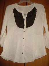 Nine West Vintage America Ivory Sequin  Knit Blouse Sz S