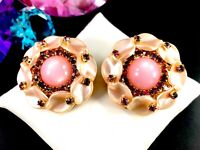 PINK MOONSTONE CABOCHON MOLDED LUCITE PETALS AMETHYST RHINESTONE CLIP EARRINGS