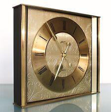 ATLANTA Mantel ÓR Wall Clock TOP Germany Mid Century CUT Brass Dial Glass 1970's