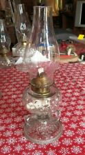 """Antique Oil Lamp, Fish Scale 2 Finger Footed Hand Lamp, 14-1/2"""" Tall Over All"""