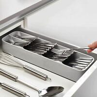 Drawer Tray 5 Compartments Compact Cutlery Organizer Kitchen Gray Silverware New