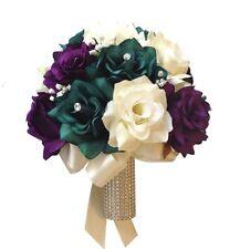 """10"""" Bouquet - Gem Teal, Purple, Ivory Artificial Flower Bouquet"""
