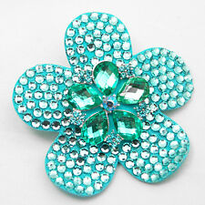 handmade turquoise aqua austrian crystal felt backed flower hair clip / brooch