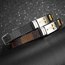 Stainless Steel With Leather Cross ID Bracelet Bangle Fashion Men's Boys Jewelry
