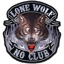 """Lone Wolf Full Face Patch 5"""" Aufnäher Motorrad farbecht gestickt Totenkopf Biker"""