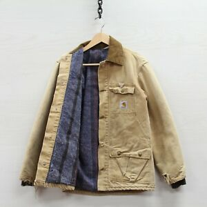 Vintage Carhartt Chore Canvas Work Jacket Size Small Beige Blanket Lined