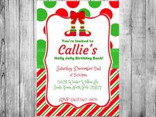 Christmas Elf Legs Birthday Party Invitation Personalized Custom You Print