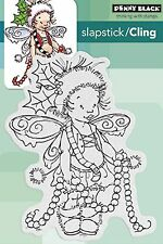 Christmas Garland Pixie Cling Style Unmounted Rubber Stamp PENNY BLACK 40-426