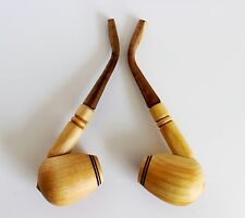 Set of 2 Handmade Wooden Smoking Tobacco Pipes Cherry High Quality