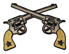 Crossed Western Star Cowboy Pistol Revolver Magnum Guns Iron On Applique Patch