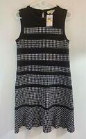 NWT Michael Michael kors Black White Sleeveless Striped Dress SZ MED