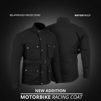 New Motorbike Motorcycle Textile Cordura Coat Jacket Waterproof CE Armours Black