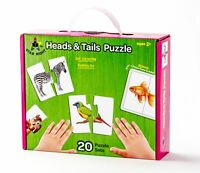 Educational Children's Animal Jigsaw Puzzle - Set of 20 (40 pc) w/ Puzzle Frame