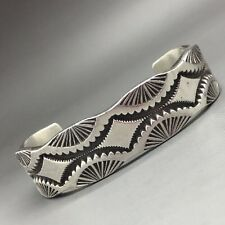 Darin Bill Cuff Bracelet, Sterling Silver, Heavy, Stamped,  Navajo!  Must See!