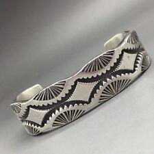 Darin Bill Cuff Bracelet, Sterling Silver, Heavy, Stamped,  Navajo!  Must See!