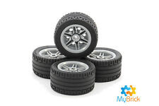 Lego Light Grey Wheels - (56145) and Lego Tyres (44309) x 4pack  - Free Postage