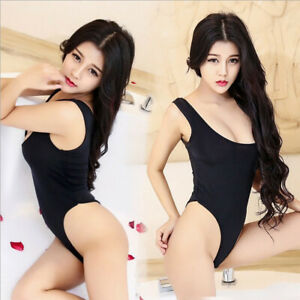 Women Black Bodysuit Clothing One Piece Lingerie Sexy Sleeveless Jumpsuit UK