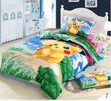 "60""x80"" Pokemon Pikachu Monster DUVET Cover Flat Sheet Pillow Cases Bedding set"
