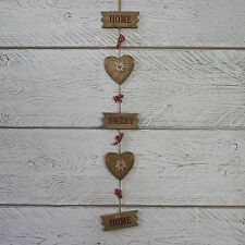 Shabby Rustic Chic Hanging Garland Wooden Hearts HOME SWEET HOME Plaque Red Bows