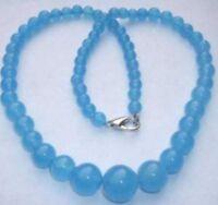 "Beautiful Natural 6-14mm Brazilian Blue Aquamarine Round Gems Beads Necklace 18"""
