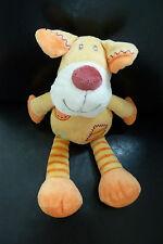 83/  DOUDOU  CHIEN KIABI  jaune et orange carré patchwork 30 cms  - TBE !