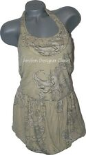 NWT DIESEL M bubble hem halter dress $275 backless tan designer high-end lined
