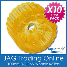 "10 x 100mm 4"" SOLID POLYURETHANE BOAT TRAILER NON-MARKING YELLOW WOBBLE ROLLERS"