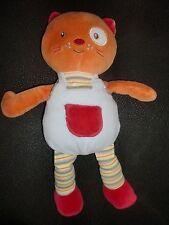 doudou peluche chat ours orange rouge bleu cocard oeil blanc SUCRE D'ORGE 30cm